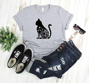 Cat-Floral-Butterfly-Cut-Out-Unisex-T-Shirt-Black-Gray-Bella-Canvas-Handmade