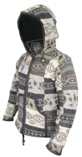 Knitted Men Jacket Woolen Fleece Lined Patchwork High Neck Winter Hippie Jumper