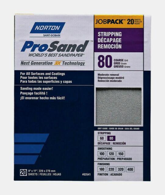 Norton ProSand SANDPAPER SHEETS 20 ct Stripper 80 Grit Coarse All Surfaces 02641