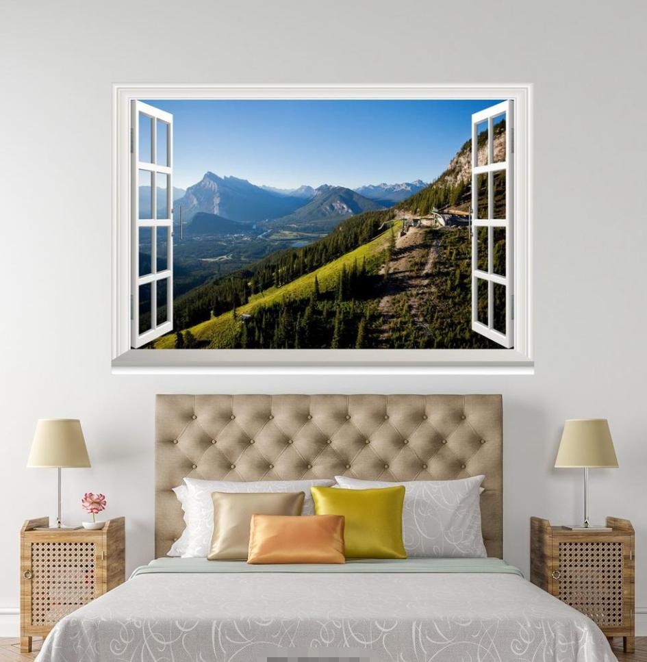 3D Grünness Hill Sky 045 Open Windows WallPaper Murals Wall Print AJ Jenny