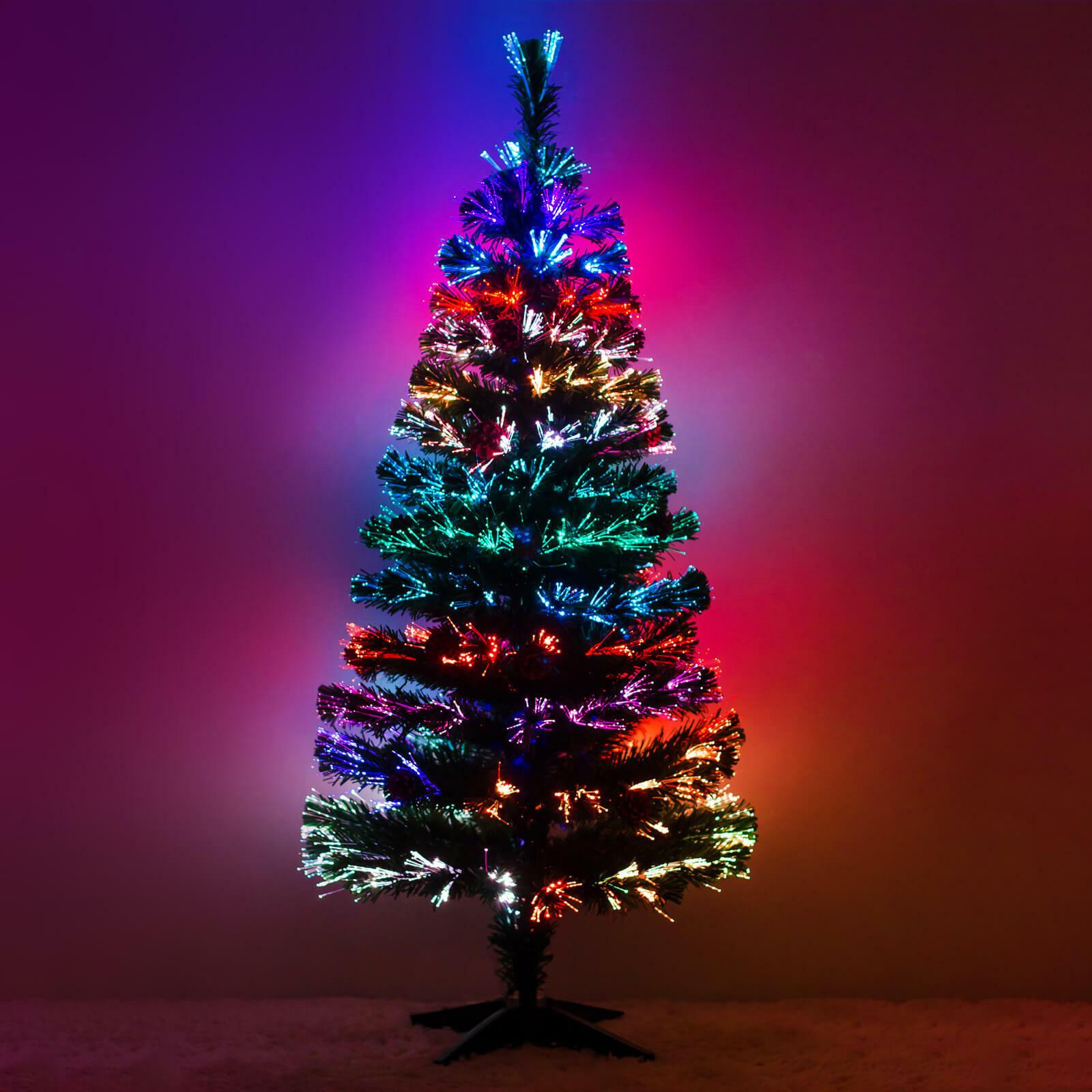 Weihnachtsbaum Tannenbaum Christbaum LED Glasfaser künstlicher Farbwechsel 120cm