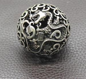 Old Chinese Tibetan silver Dragons and phoenixes Handball Round ball