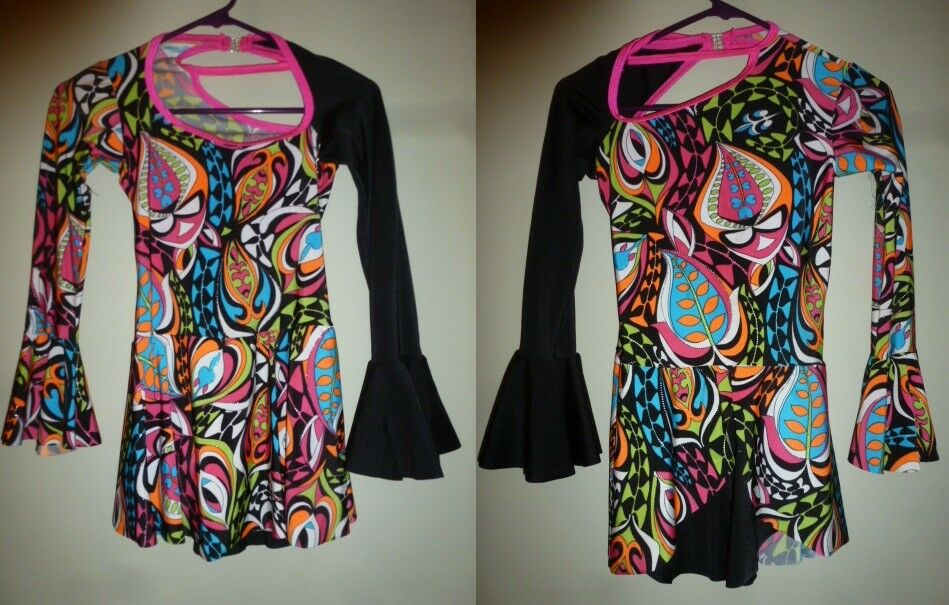 Ice Skating Dance Dress Multicolord lycra stretch fabric Girls 12 or AS