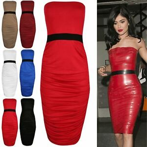 49c0fb4a21a Image is loading Womens-Ruched-Plain-Boob-Tube-Strapless-Stretch-Bodycon-