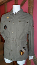 Large Zip Front Jacket in Khaki Green 100% Cotton by Brave Soul Brand New + Tags