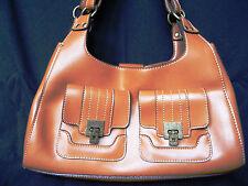 Emilie M caramel simulated leather hobo handbag, double decorative pockets