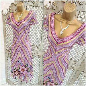 ARRUBA  💋 UK 14 Lilac Mesh Ribbon Chevron Flower Fit & Flare Dress ~Free P&P ~