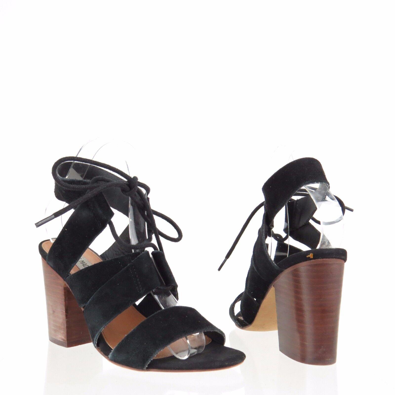 Women's Black Steve Madden Emalena Shoes Black Women's Suede Sandal Heels Size 7 M 280e66