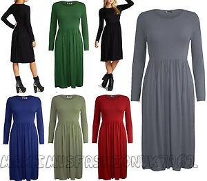 Womens Franki Long Sleeves Ladies Swing Flared Midi Skater Dress Top Plus Size