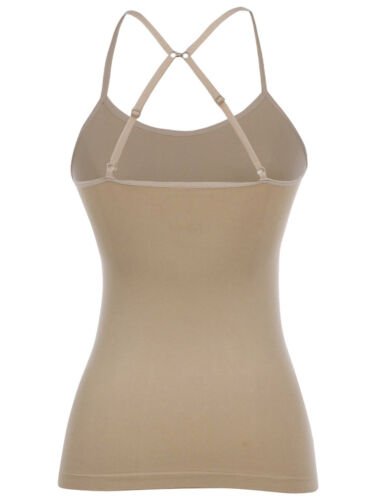 Seamless Spandex Layering Convertible Cross Back Solid Tank Top Camisole S M L