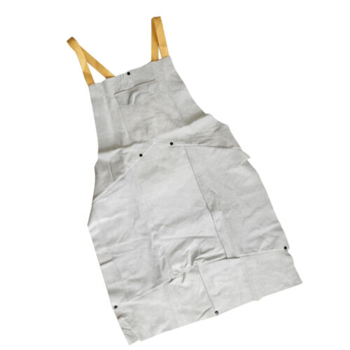Heat Resistant White Thick Leather Weld Proctective Apron with Pockets