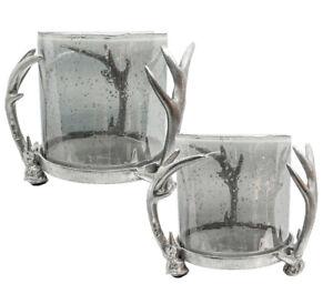Windlicht-Kerzenlicht-Hirschgeweih-Aluminium-Geweih-Glas-grau-15-oder-20-cm