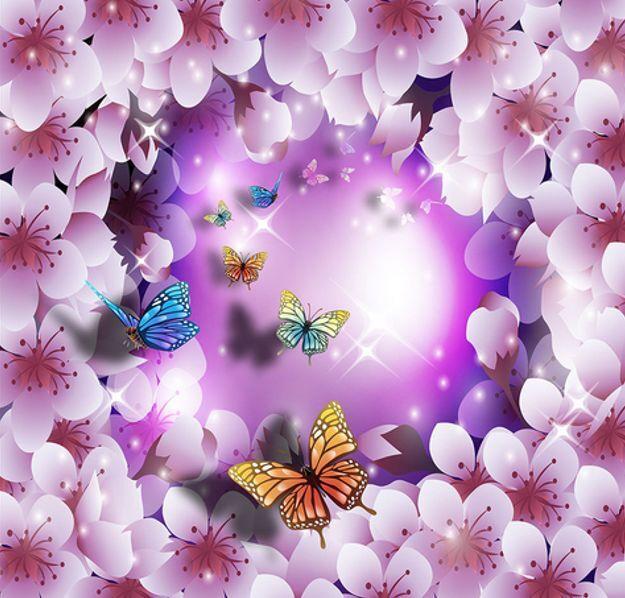 Sueño 3D Púrpura Impresión De Parojo Flores De Papel Pintado Mural Calcomanía 5D AJ Wallpaper