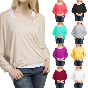 Womens-Casual-Irregular-Hem-Shirts-Sexy-One-Shoulder-Loose-Blouse-Knitted-Tops