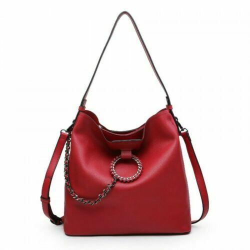 Ladies Studded Bucket Designer Chain Slouch Shoulder Bag Tote Handbag Shopper