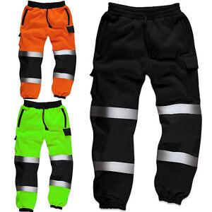 Hi-Viz-alta-Visibilidad-Hombre-Trabajo-Pantalones-de-chandal-trabajador-de-Seguridad-Reflectante