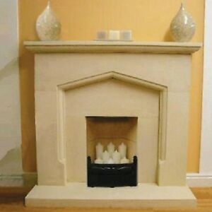 Tudor style stone fireplace fire surround with inserts for Tudor fireplaces