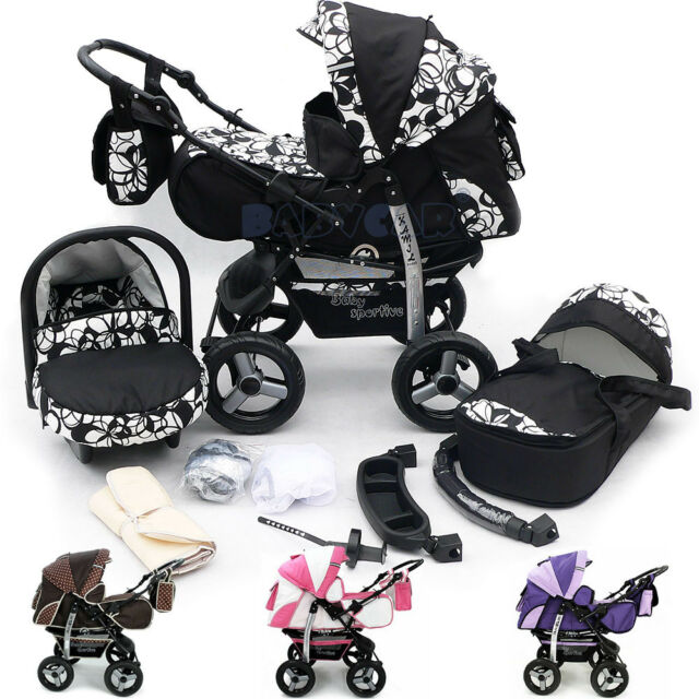 Car Seat Pushchair /& Accessories 3-in-1 Travel System with Baby Pram Black /& White Polka Dots Twing