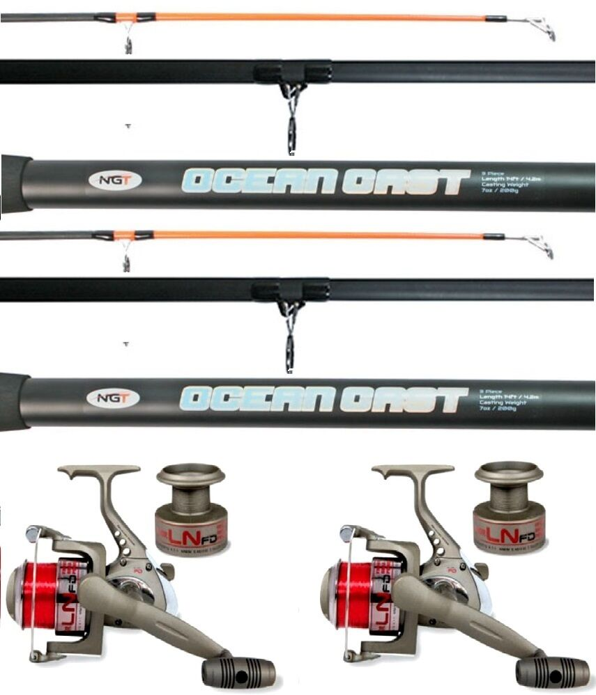 2 x Oceancast 14 ft Beachcaster Rods Beach Caster Surf Rods & Reels Sea Fishing