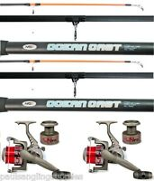 2 X Ngt 14 Ft Beachcaster Rods Beach Caster Surf Rods & Ln70 Reels Sea Fishing