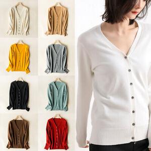 Classic-Women-Button-V-Neck-Long-Sleeve-Knit-Sweater-Coat-Fashion-Cardigan-S-2XL