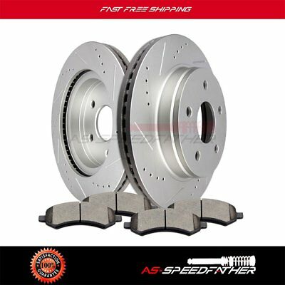 Front+Rear Drill Slot Brake Rotors And Ceramic Pads For Dodge Durango Ram 1500