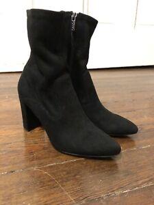 e53bbfe5c15d Franco Sarto Fancy Ankle Boot Women Size 6.5 Black Faux Suede Zip