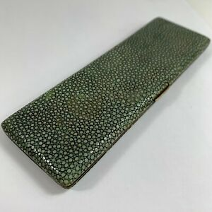 Antique-Shagreen-amp-Brass-Cigarette-Case-Unusual-Shape-English-Made-17cm-X-5-5cm