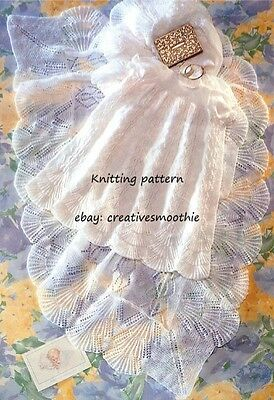 (565) Heirloom Baby Christening Robe and Shawl, 0-9mths, 3 PLY KNITTING PATTERN