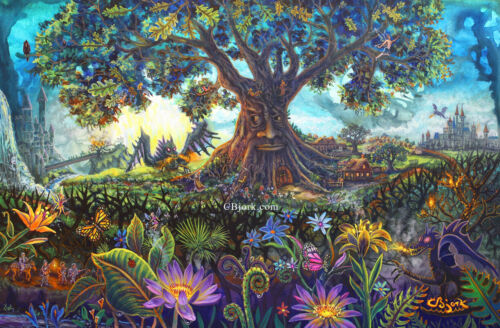 Magical Tree Sleeping Beauty Maleficent Theme Disney Nature Art Painting CBjork
