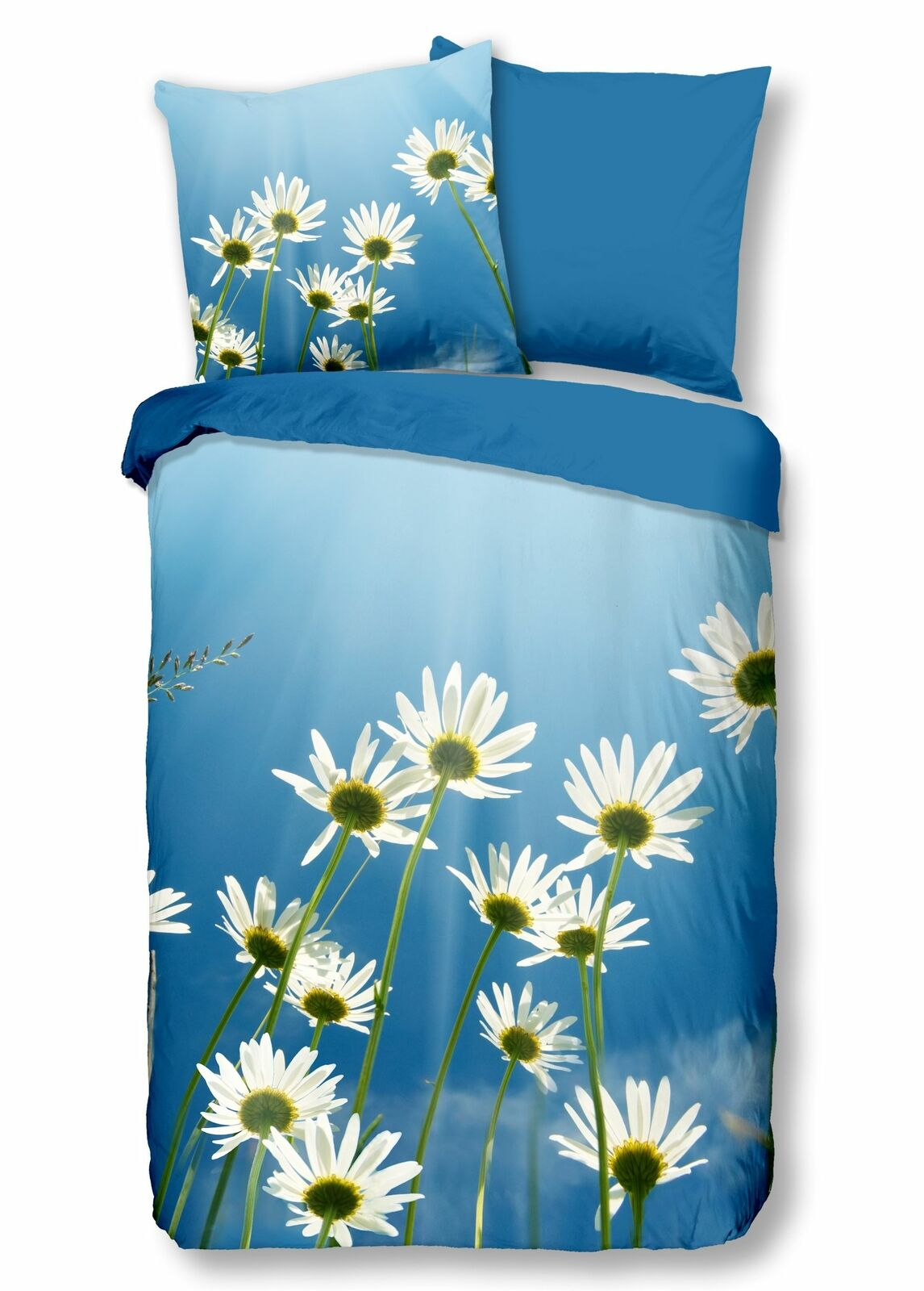 4 tlg Bettwäsche 135x200 cm Gänseblümchen Frühling weiß blau Baumwolle Wende Set