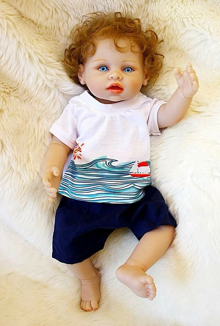 Completo De Silicona Vinilo Muñeca Bebé Niño Reborn Realista Ojos Azul Bebé De Juguete Regalos 45cm
