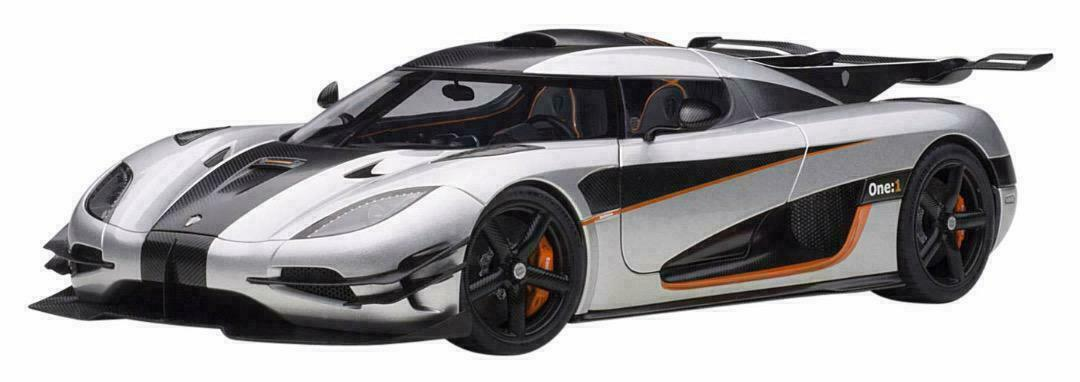 SALE AUTOart 1 18 Koenigsegg One 1 Mat Silver CarbonBlack orange 79017