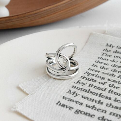 Handmade Vintage Interwoven Line Ring for Women Real 925 Sterling Silver Jewelry