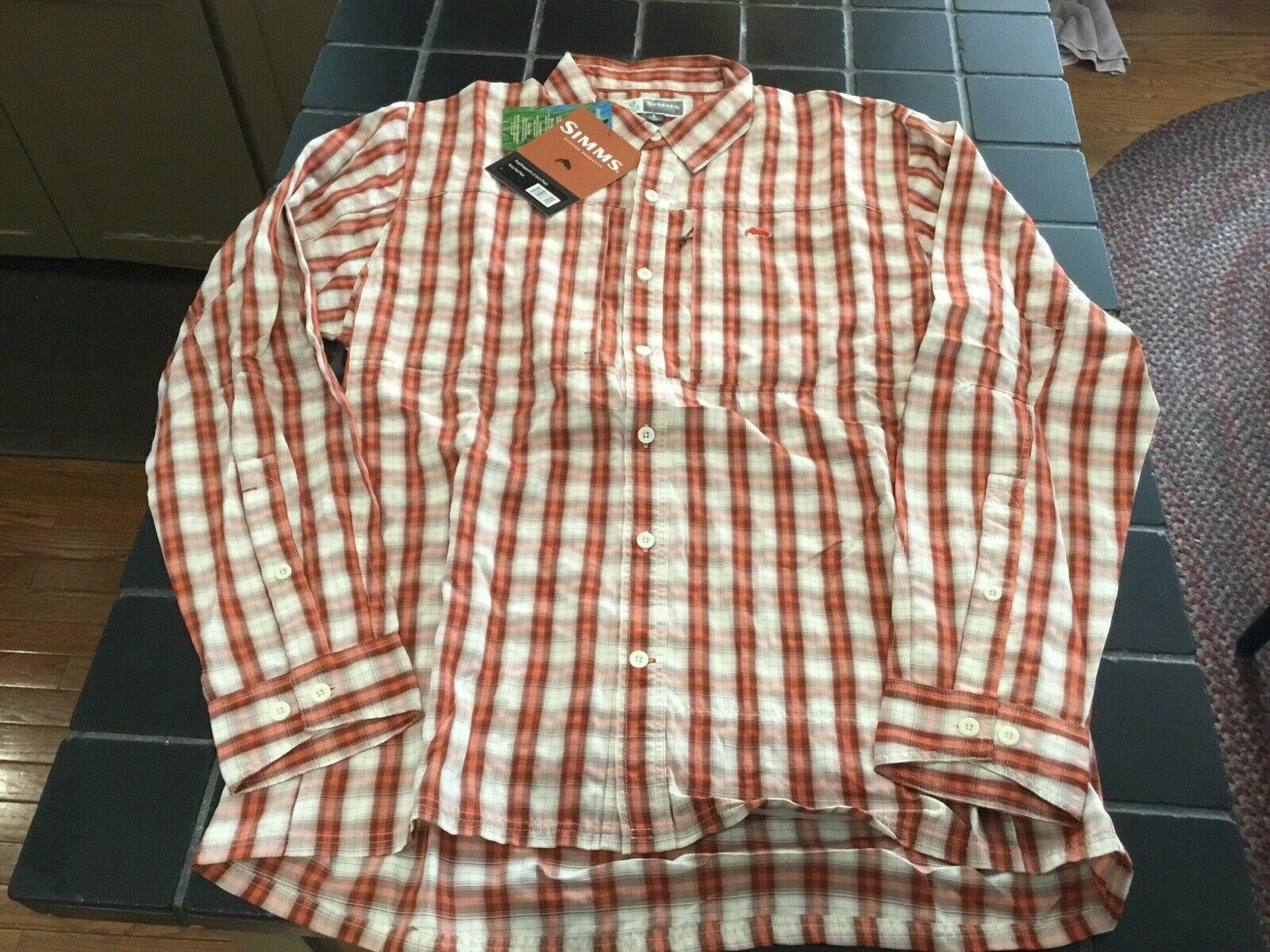 Nuevo Con Etiquetas Camisa Manga Larga bugstopper Simms Fishing,  Talla L, camisa a cuadros roja Bug prueba oxidado  venta