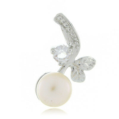 18k White Gold EP Natural 8mm Pink Freshwater Pearl Pendant