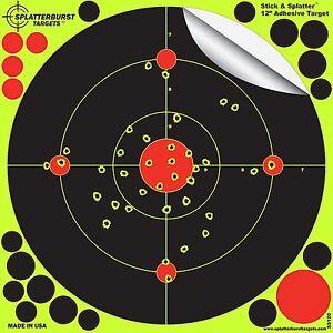 """Shooting Targets 12"""" Splatter Glow Shot Gun and Rifle Paper Target 10 25 50 Pack"""