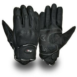 Vented-Leather-Motorbike-Motorcycle-Gloves-Knuckle-Shell-Protection