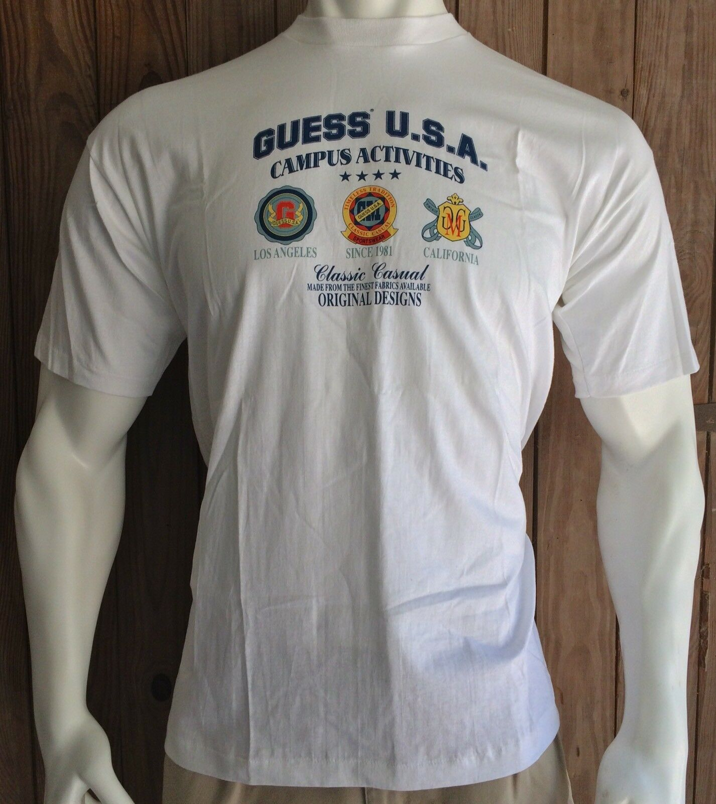 NWT Guess Jeans USA Men's Large Tshirt Vintage 90's Spell Out White New w  Tags