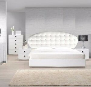 Details about Modern Style France White California King Size Bedroom 1pc  Bed Tufted Crystal