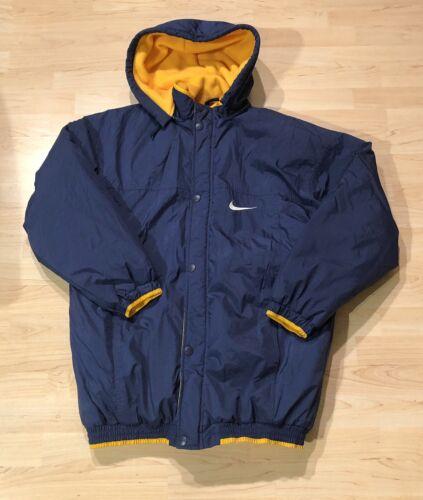 polar Nike Large marino Mens forrado amarillo abrigo cremallera Forro con Azul Spellout Vtg completa xfqwBAn8Wq