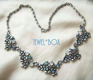 VINTAGE-Opalescent-Moonstone-Glass-BLUE-Aurora-Borealis-Crystal-Flower-NECKLACE