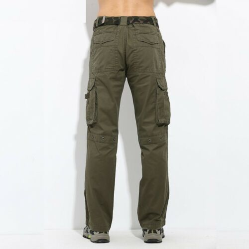 Men Pants Military Camo Color Combat Trousers Slim Flat Front New Army Green Fit