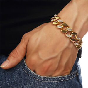 Fashion-Crystal-Stainless-Steel-Gold-Cuban-Curb-Chain-Men-039-s-Bracelet-8-039-039-Jewelry