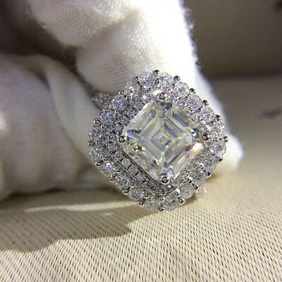 Certified 4.Ct White Big Asscher Diamond Engagement Wedding Ring 14K White Gold