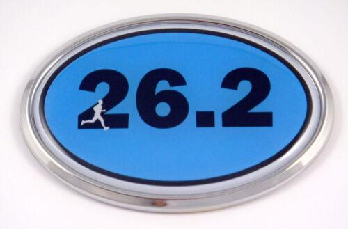 26.2 Marathon Runner Emblem Chrome car Decal BLUE auto dome sticker man men