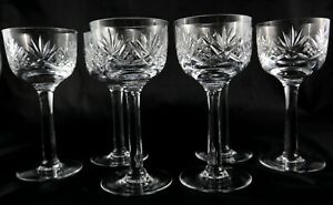 6-Stunning-heavy-Tall-Vintage-Lead-Crystal-Champagne-Prosecco-Wine-Hock-glasses