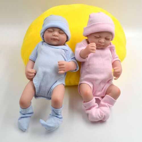 2pack 11'' Mini Newborn Handmade Baby Vinyl Twins Girl Dolls Realistic Reborn US