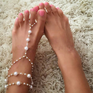 27ebe178e3aa 1 PC Bridal Barefoot Sandals Pearl Multi-Layer Anklet Wedding Beach ...