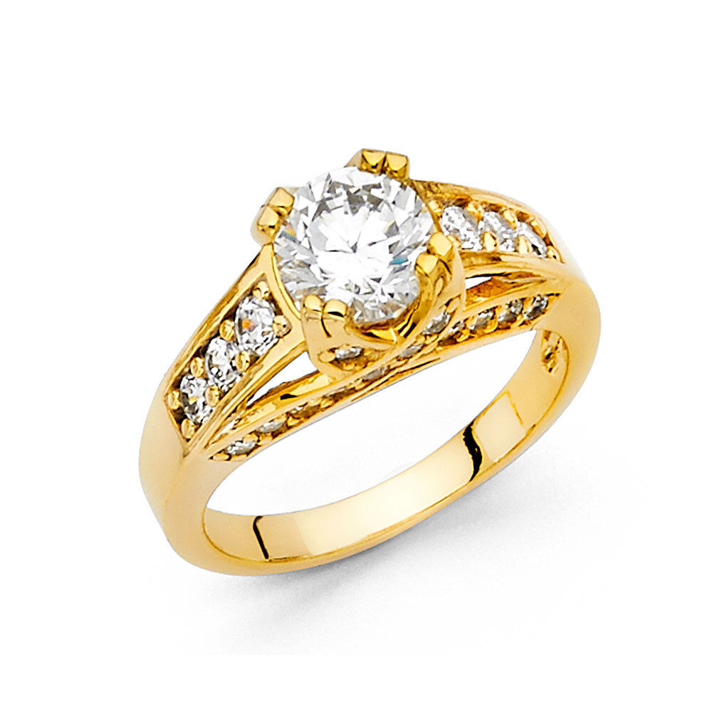 14K Solid Yellow gold 2 Ct Round Cut Engagement Ring Bridal Wedding